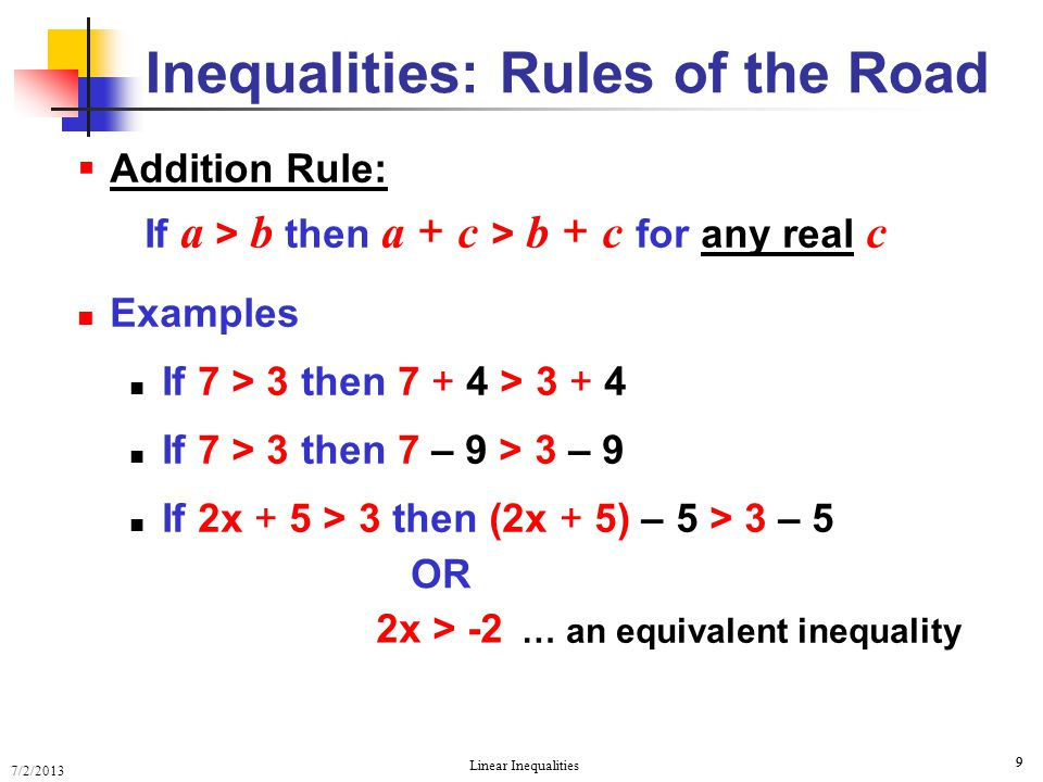 Inequalities: Rules of the Road