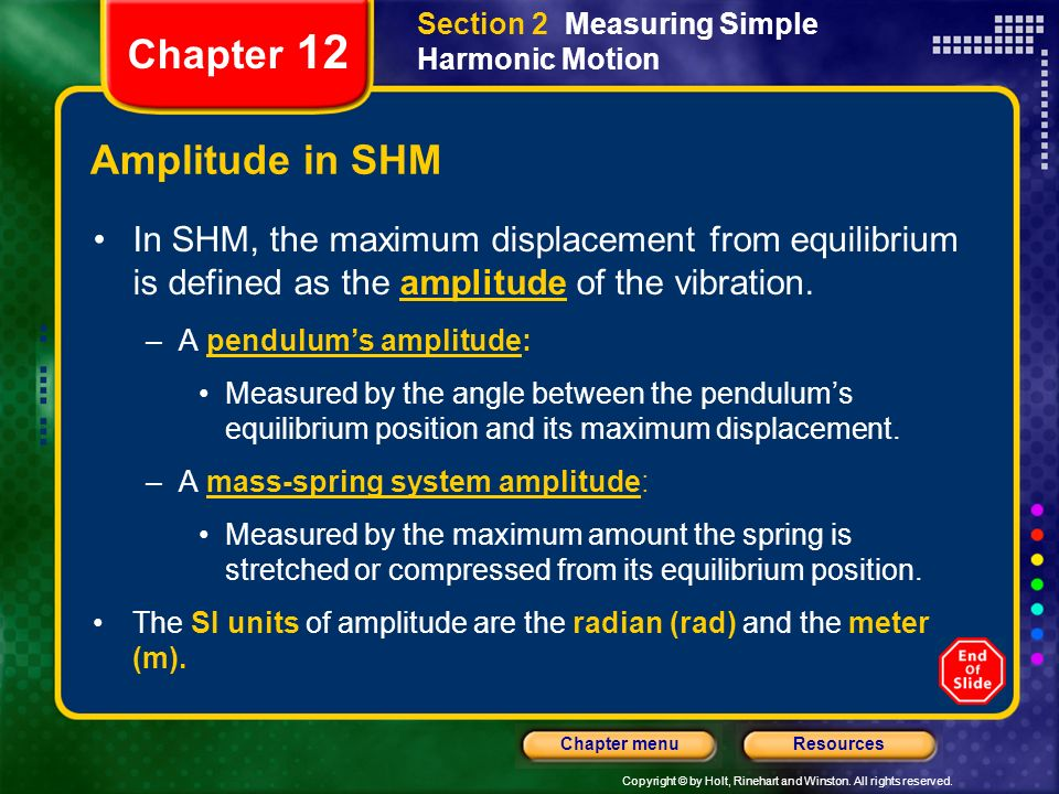 Chapter 12 Amplitude in SHM