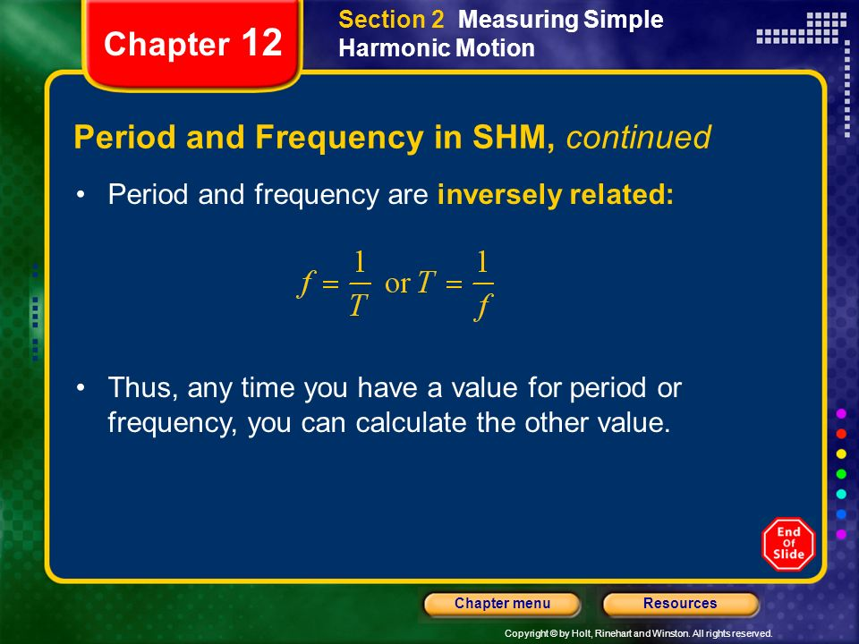 Period and Frequency in SHM, continued