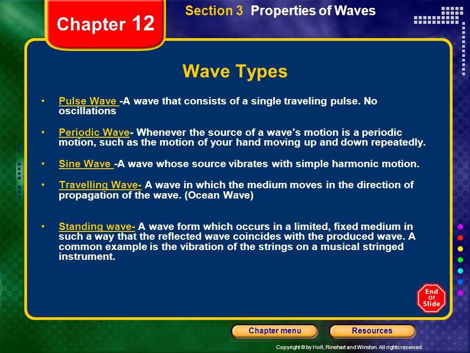 Chapter 12 Wave Types Section 3 Properties of Waves