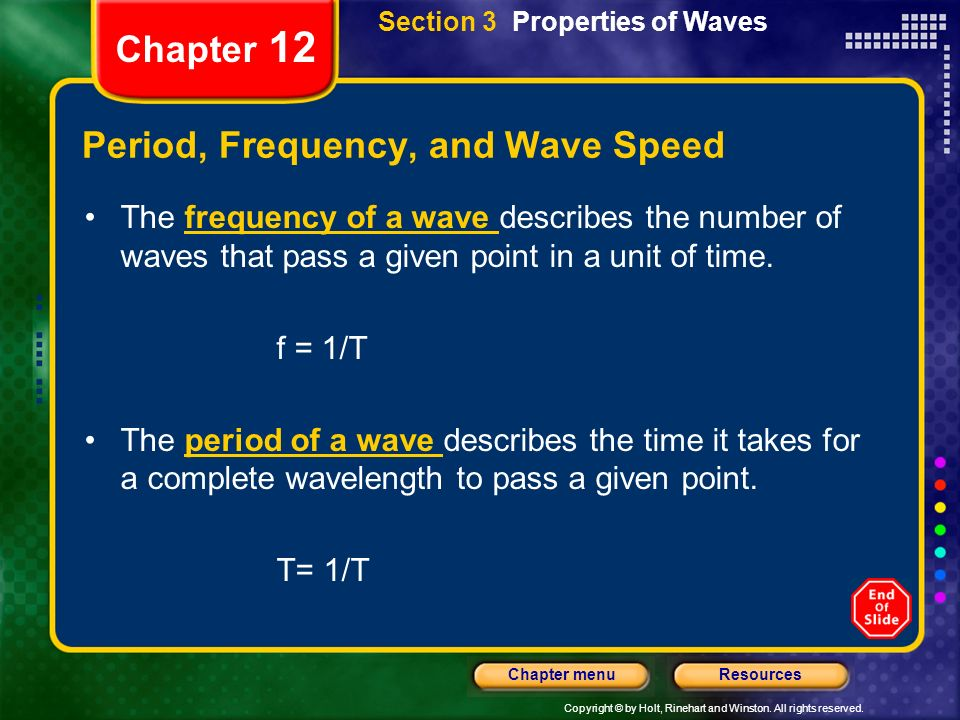 Period, Frequency, and Wave Speed