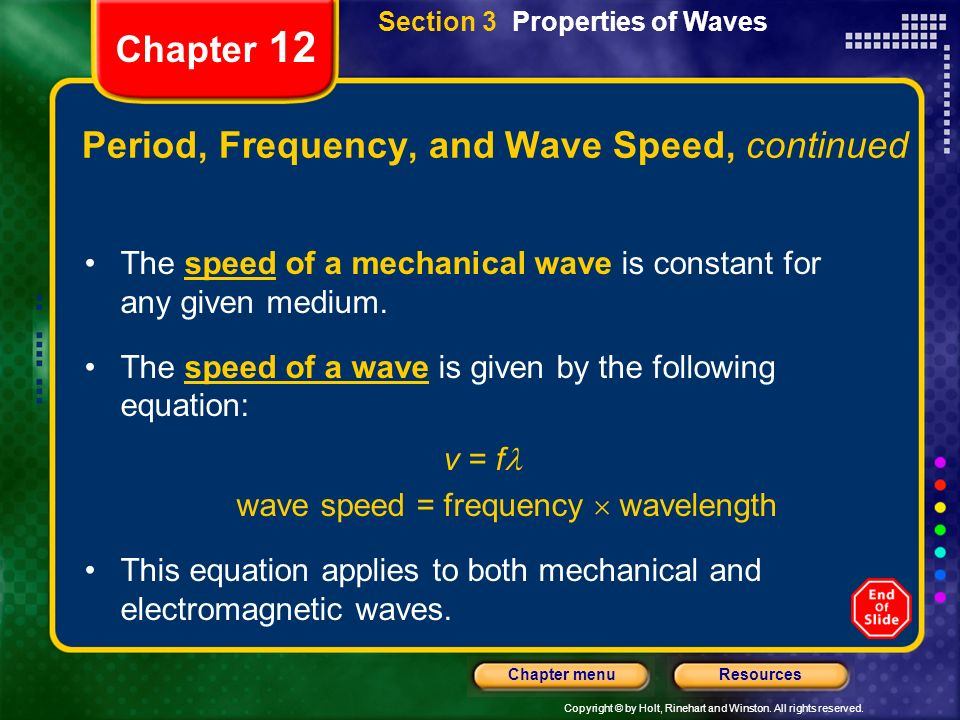 Period, Frequency, and Wave Speed, continued