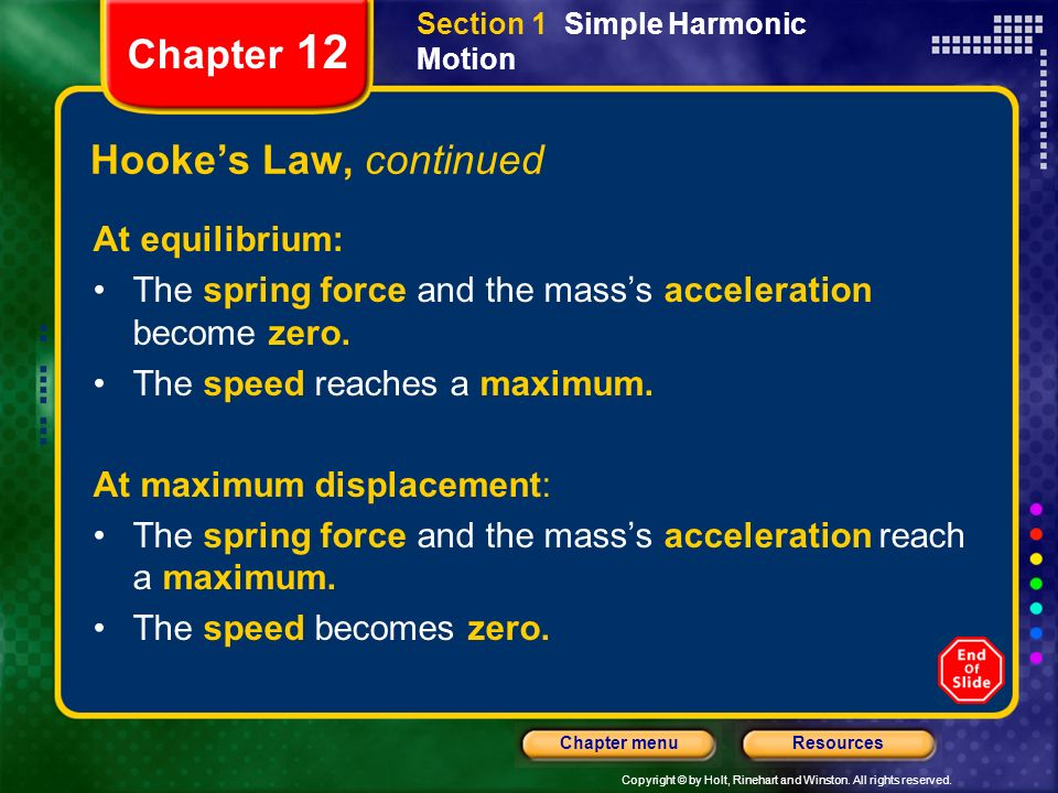 Chapter 12 Hooke's Law, continued At equilibrium: