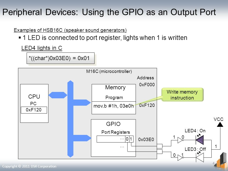 Peripheral Devices: Using the GPIO as an Output Port