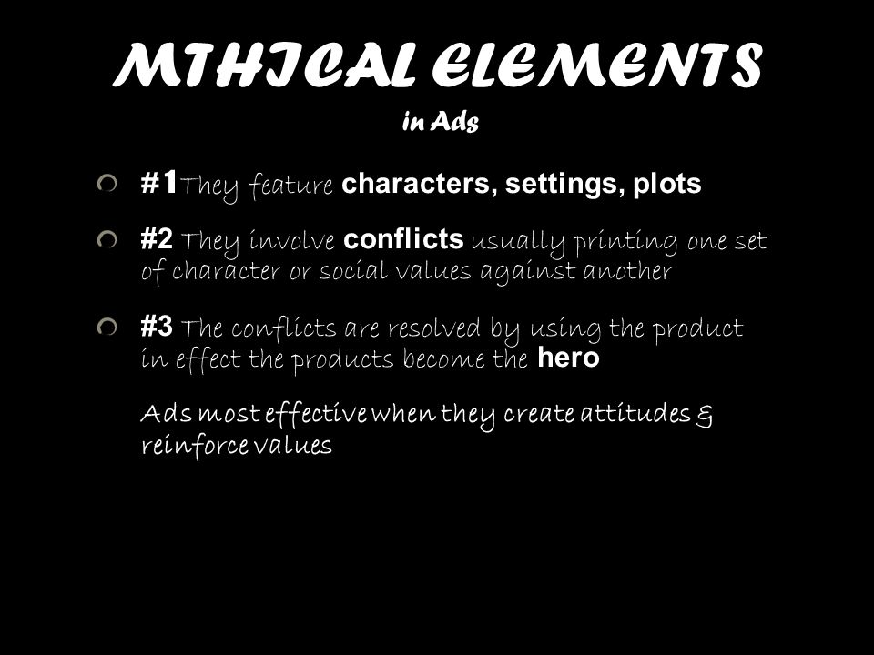 MTHICAL ELEMENTS in Ads