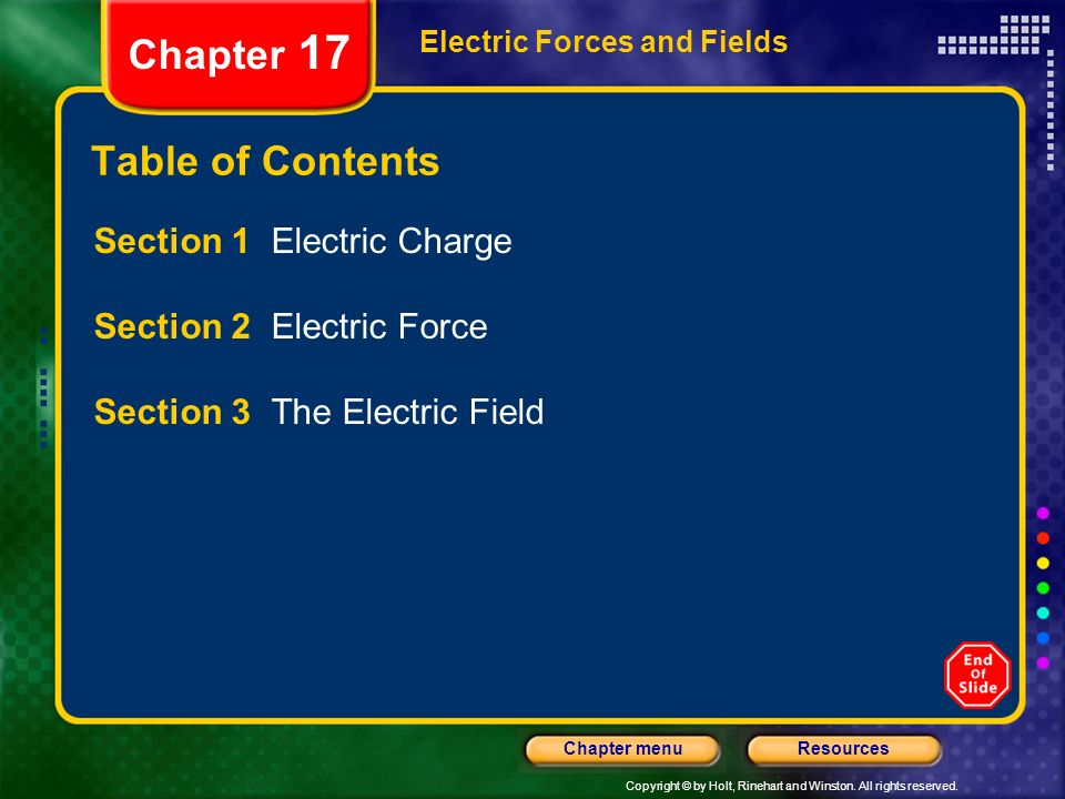 Chapter 17 Table of Contents Section 1 Electric Charge