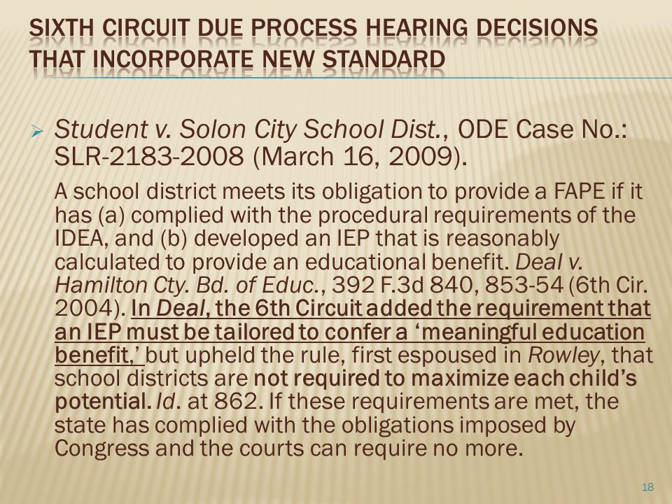 Sixth Circuit Due Process Hearing Decisions that incorporate new standard