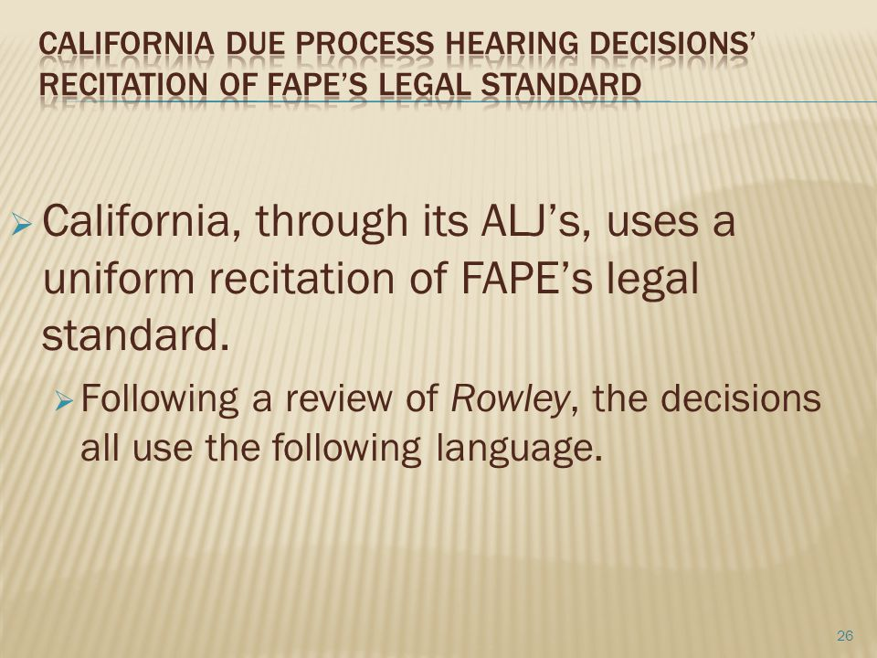 California Due Process Hearing Decisions' recitation of FAPE's legal Standard
