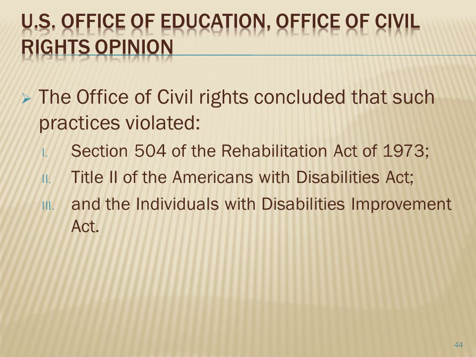 U.S. Office of Education, Office of Civil Rights Opinion