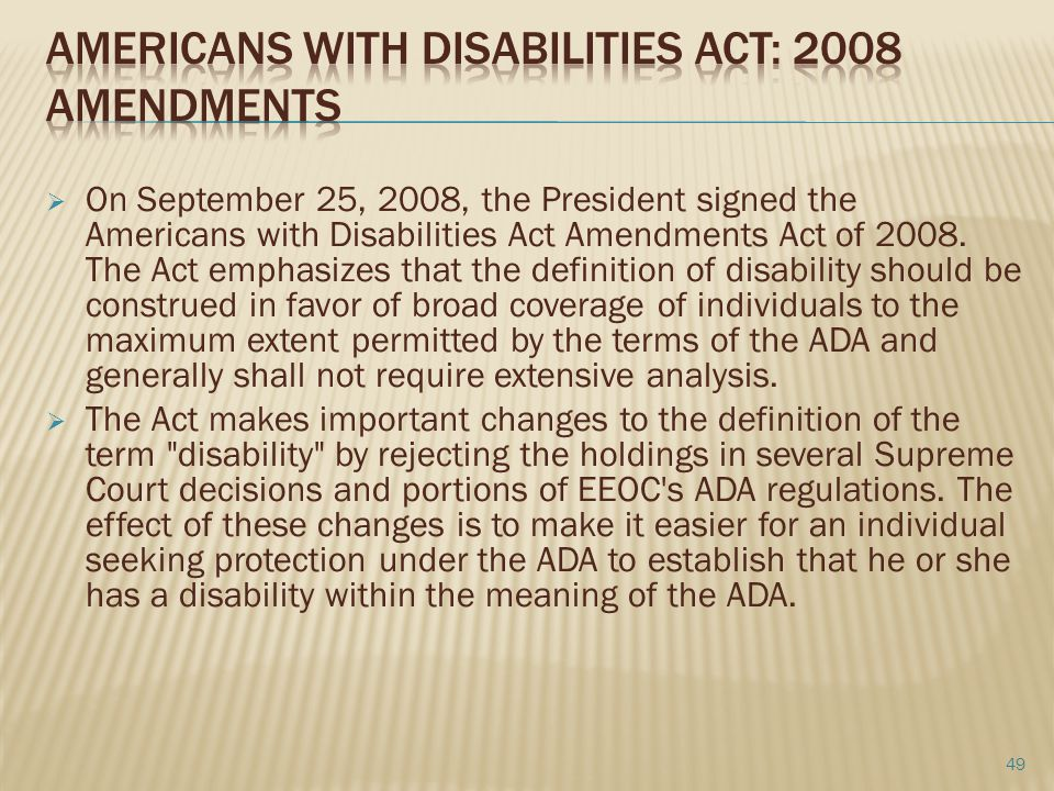 Americans with Disabilities Act: 2008 Amendments