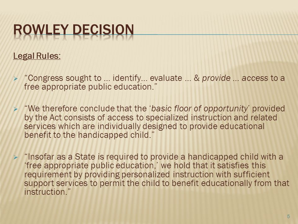 Rowley Decision Legal Rules: