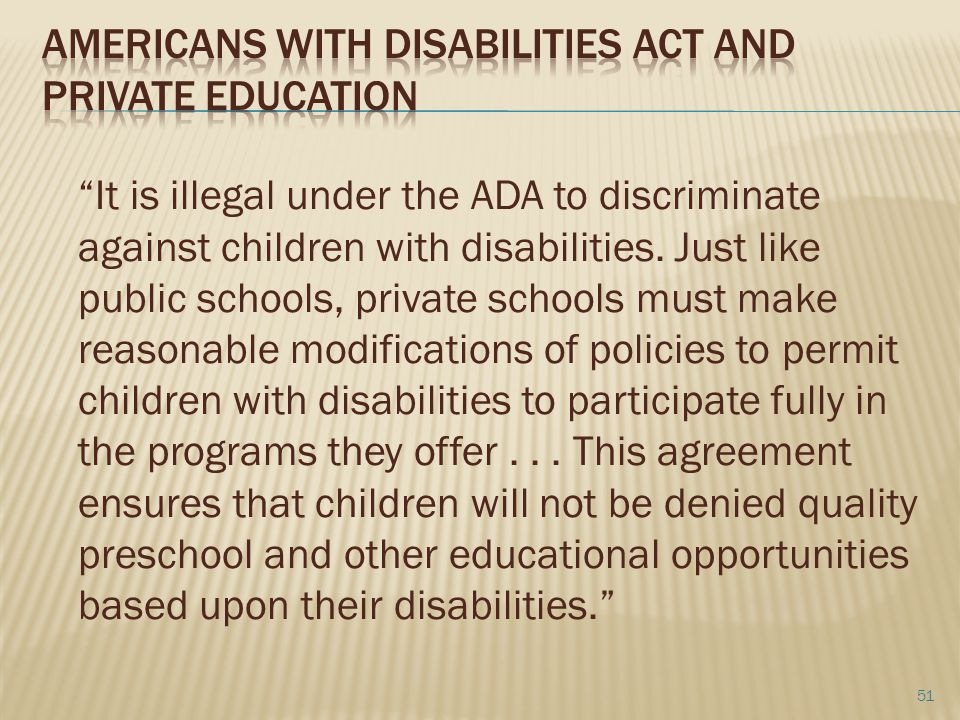 Americans with Disabilities act and Private Education
