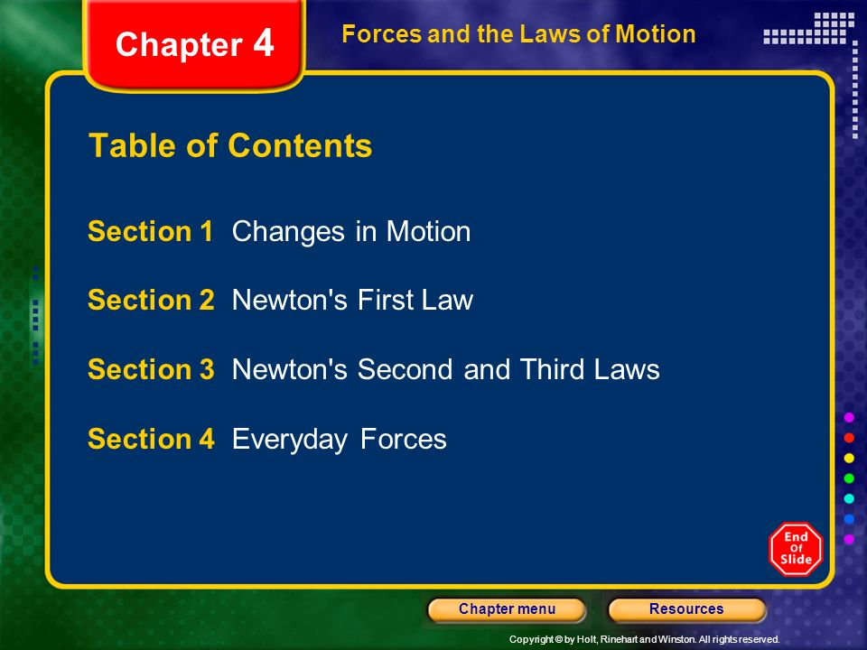 Chapter 4 Table of Contents Section 1 Changes in Motion