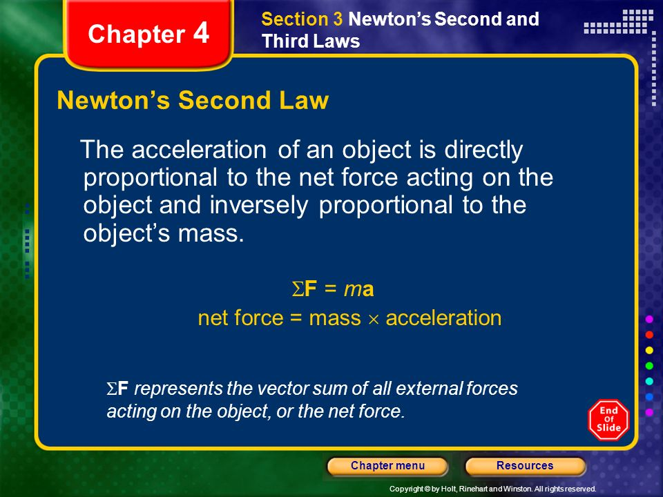net force = mass  acceleration