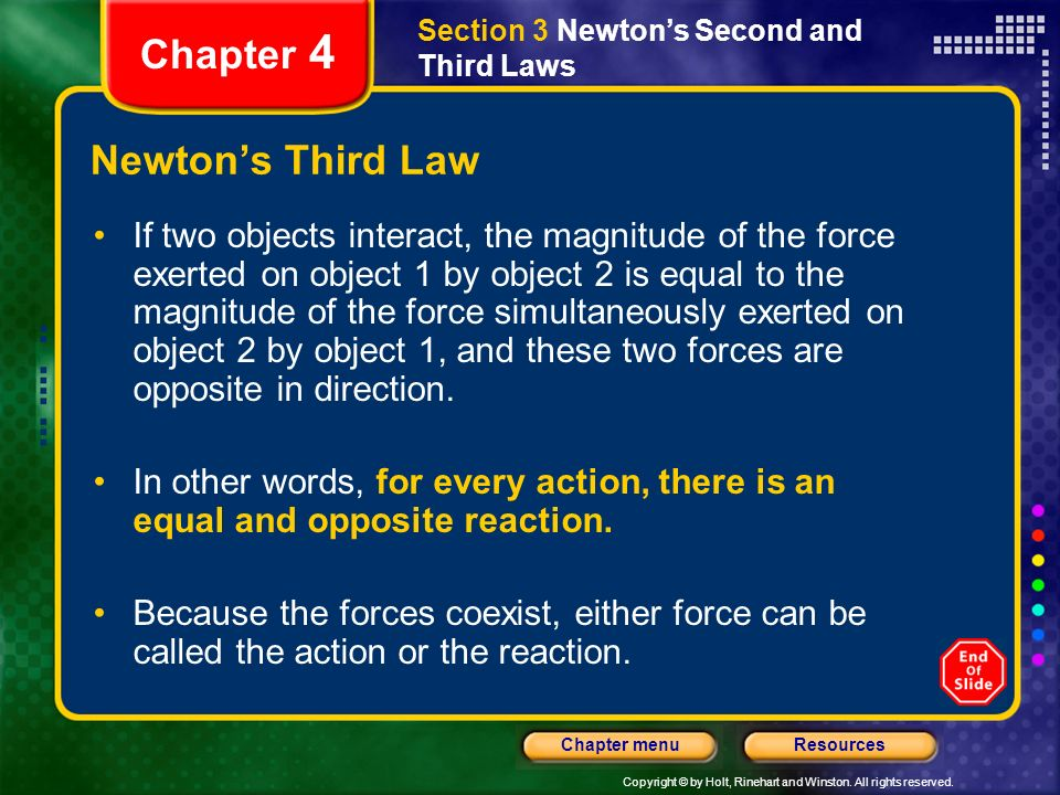 Chapter 4 Newton's Third Law