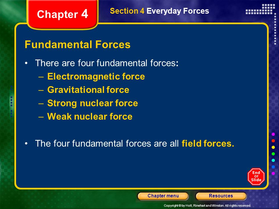 Chapter 4 Fundamental Forces There are four fundamental forces: