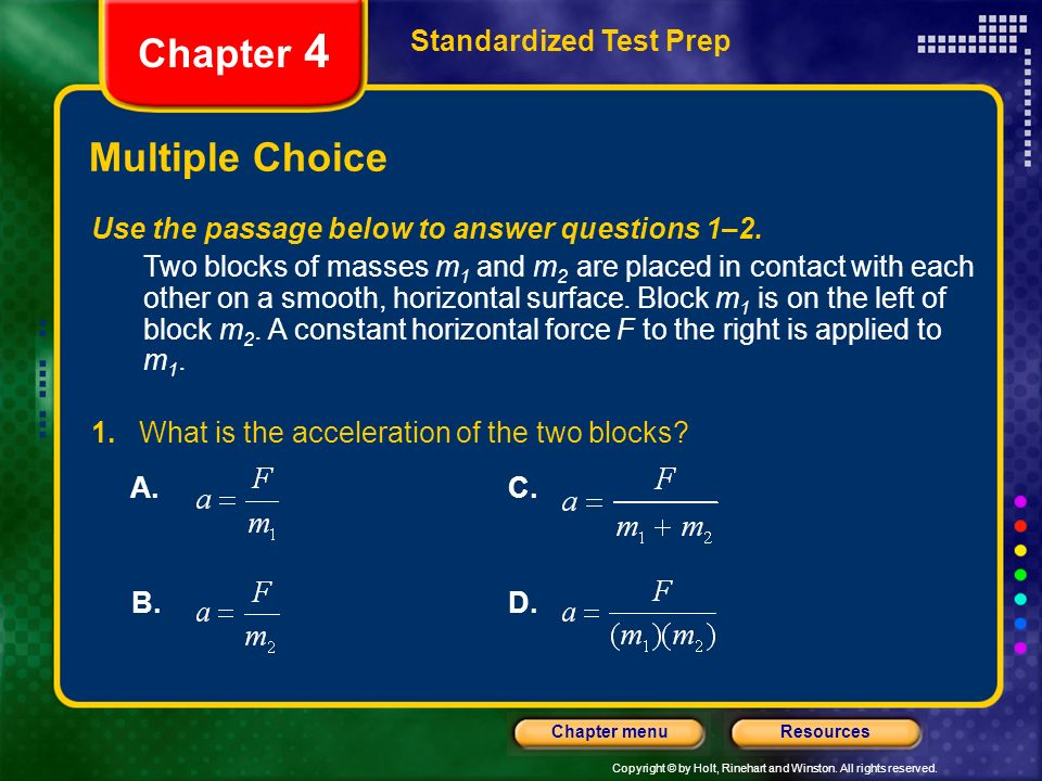 Chapter 4 Multiple Choice Standardized Test Prep
