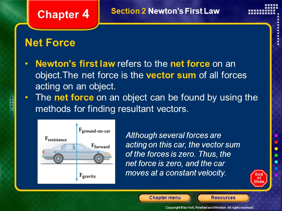 Chapter 4 Section 2 Newton's First Law. Net Force.