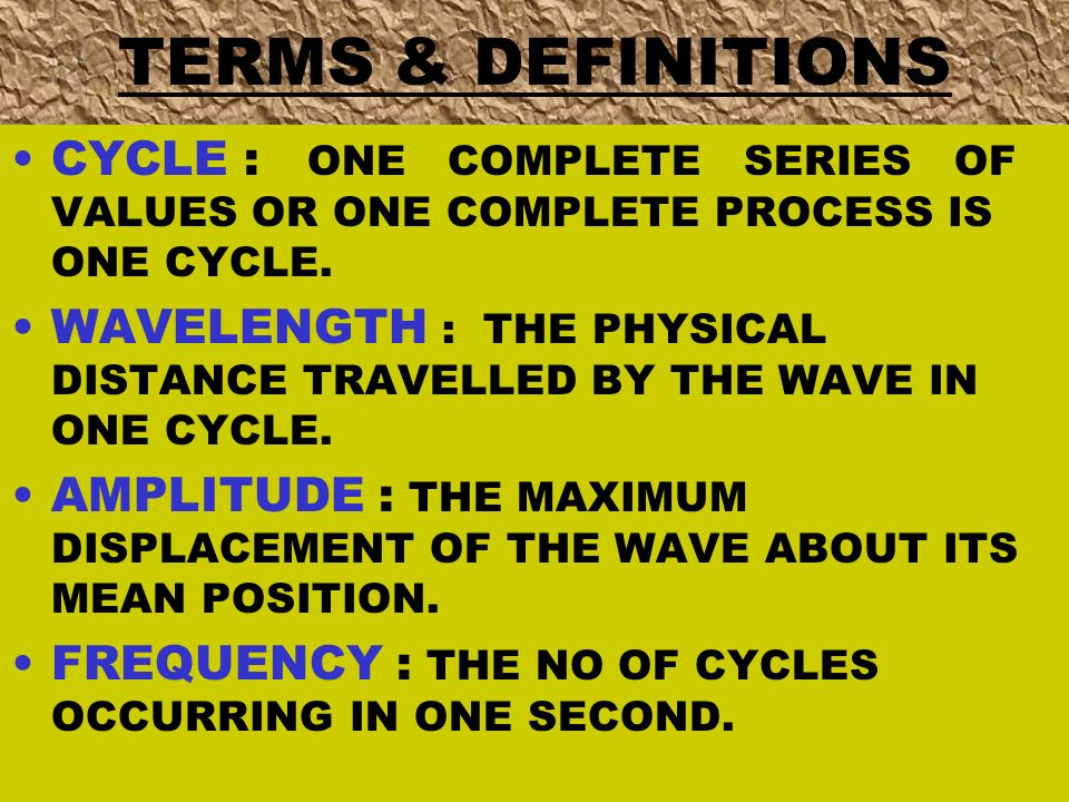 TERMS & DEFINITIONS CYCLE : ONE COMPLETE SERIES OF VALUES OR ONE COMPLETE PROCESS IS ONE CYCLE.