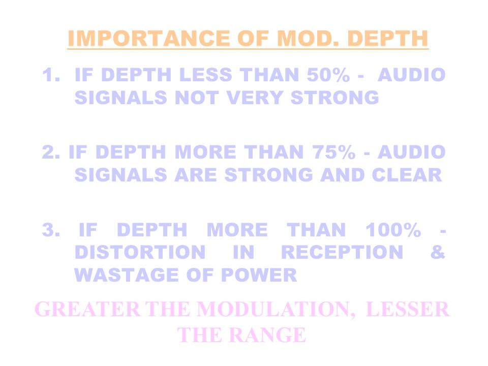 IMPORTANCE OF MOD. DEPTH