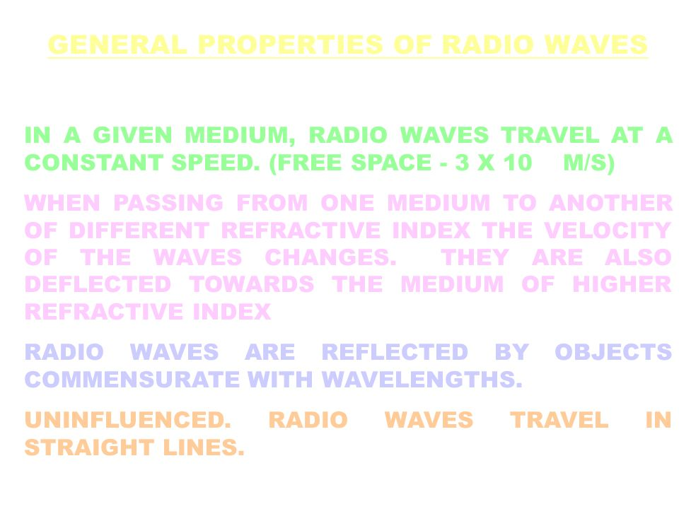 GENERAL PROPERTIES OF RADIO WAVES