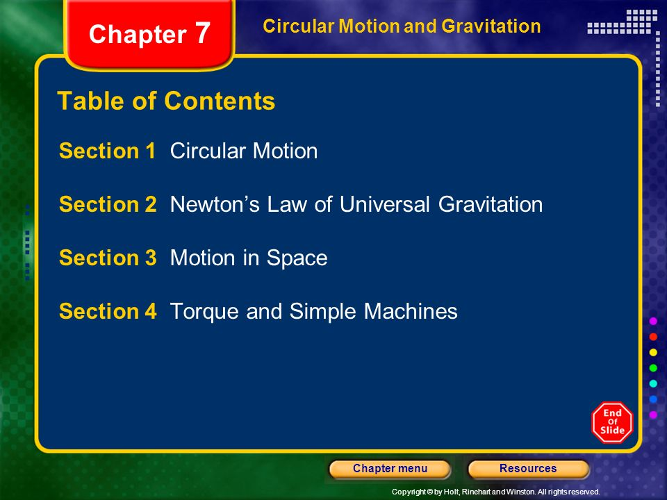 Chapter 7 Table of Contents Section 1 Circular Motion