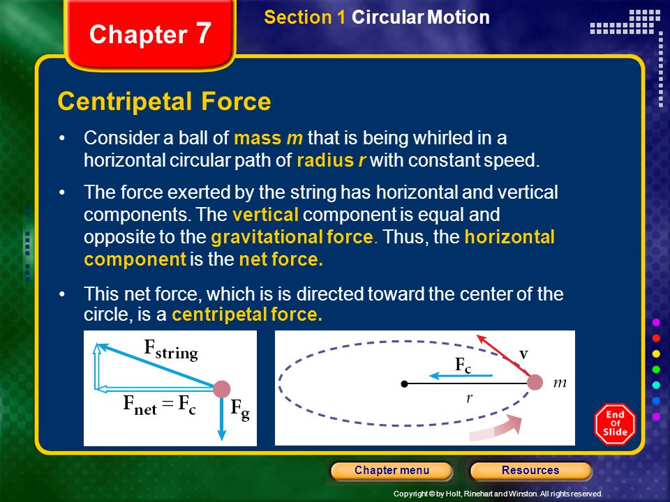 Chapter 7 Centripetal Force Section 1 Circular Motion