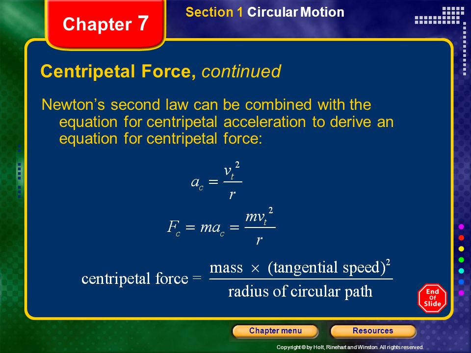 Centripetal Force, continued