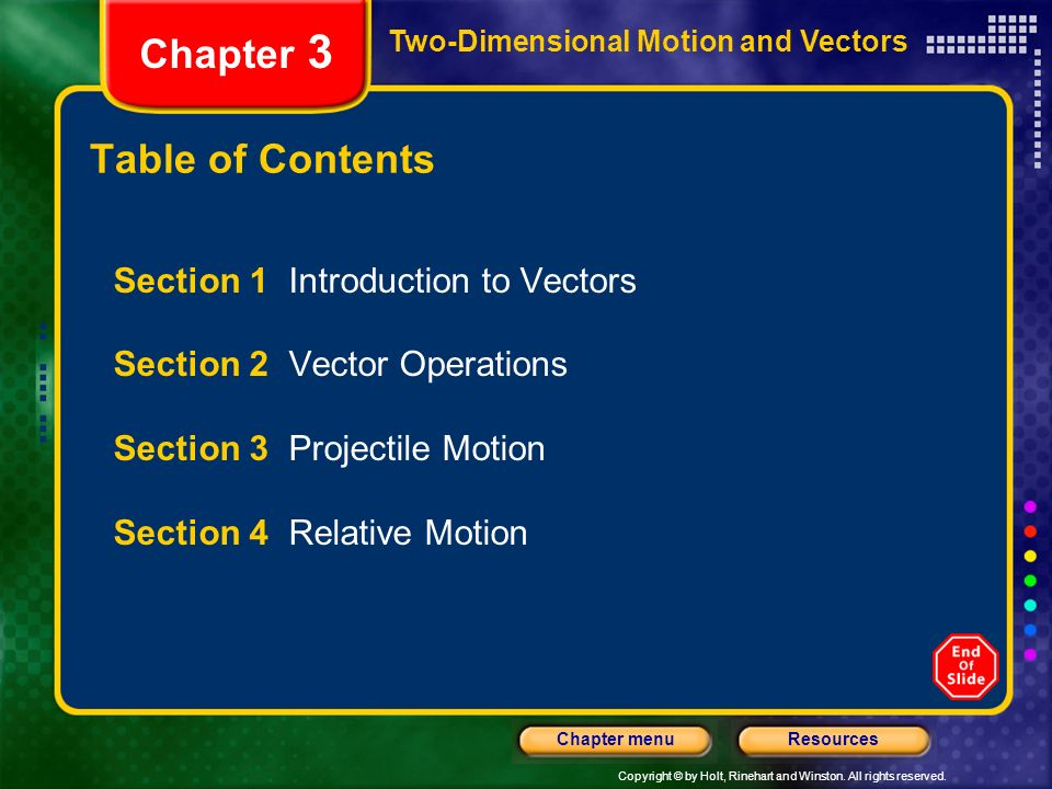 Chapter 3 Table of Contents Section 1 Introduction to Vectors