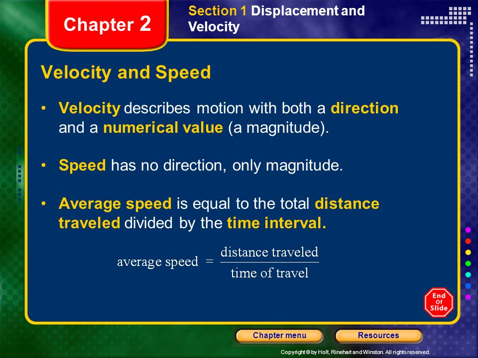 Chapter 2 Velocity and Speed