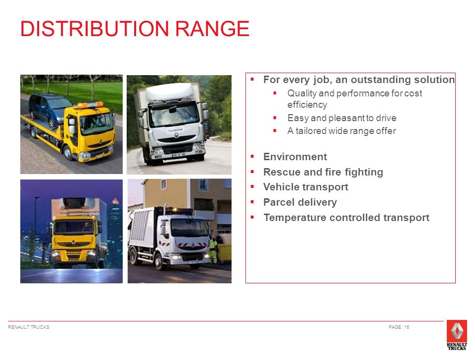 DISTRIBUTION RANGE For every job, an outstanding solution Environment