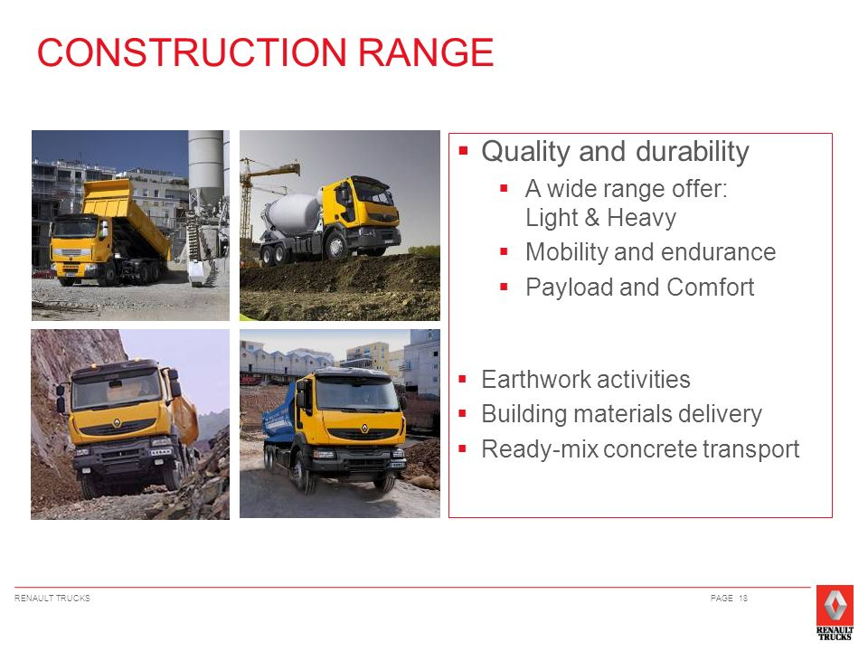 CONSTRUCTION RANGE Quality and durability