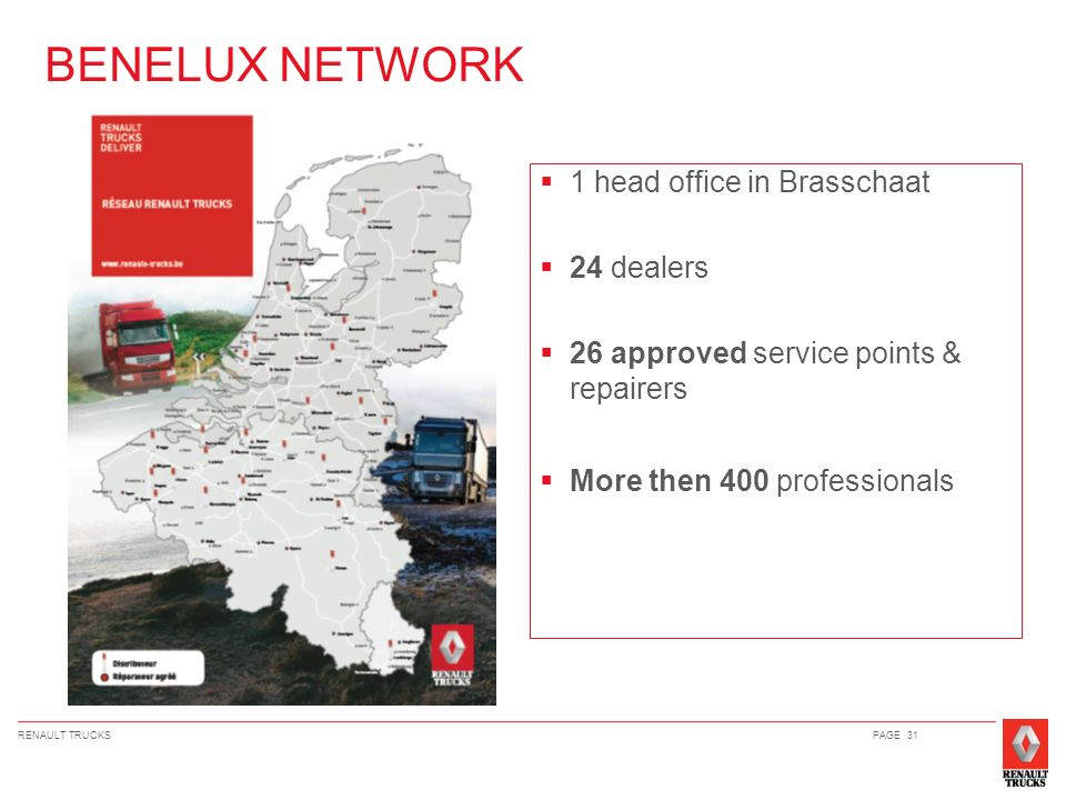 BENELUX NETWORK 1 head office in Brasschaat 24 dealers