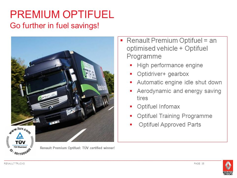 PREMIUM OPTIFUEL Go further in fuel savings!