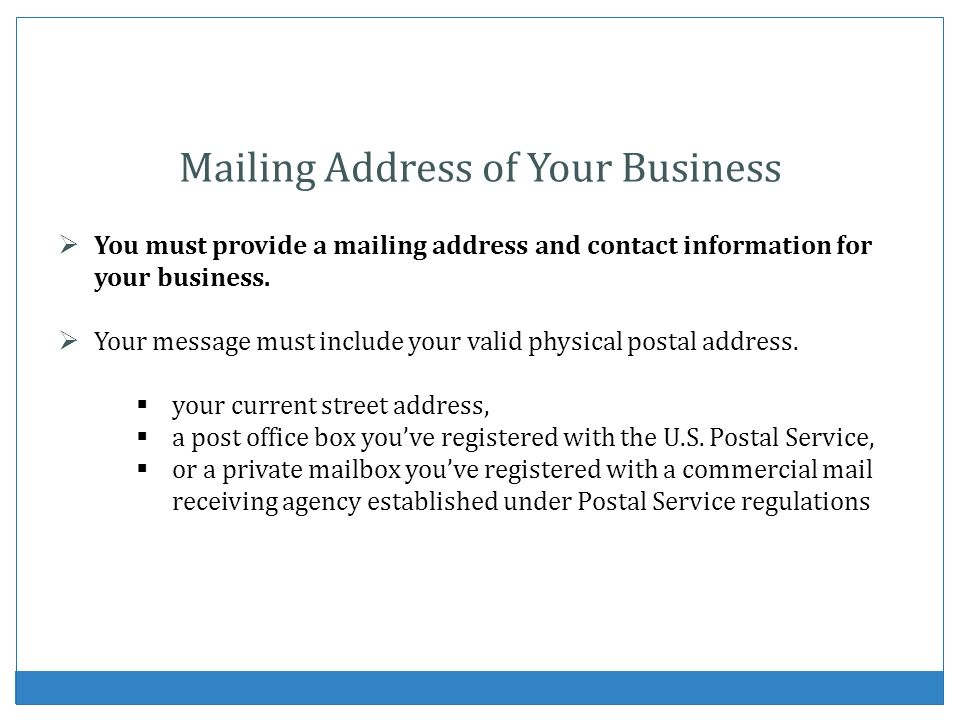 Mailing Address of Your Business