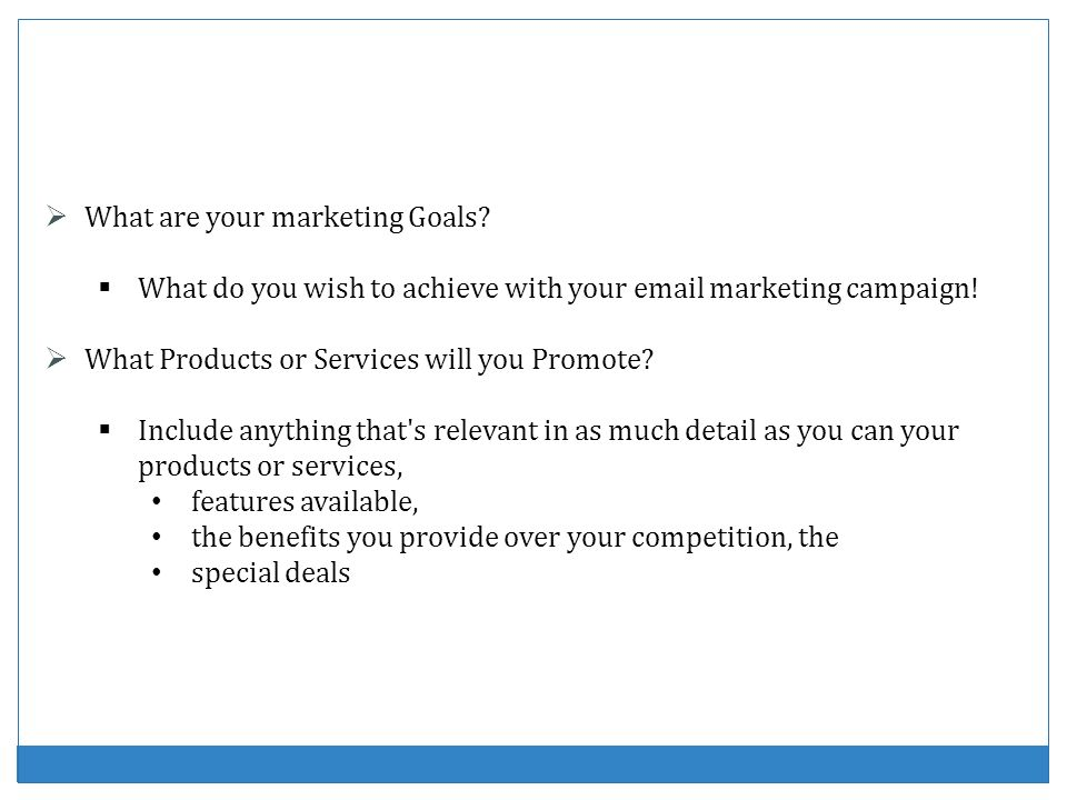 What are your marketing Goals