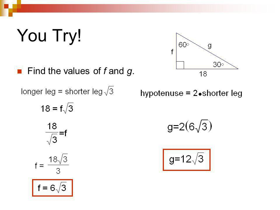 You Try! Find the values of f and g.
