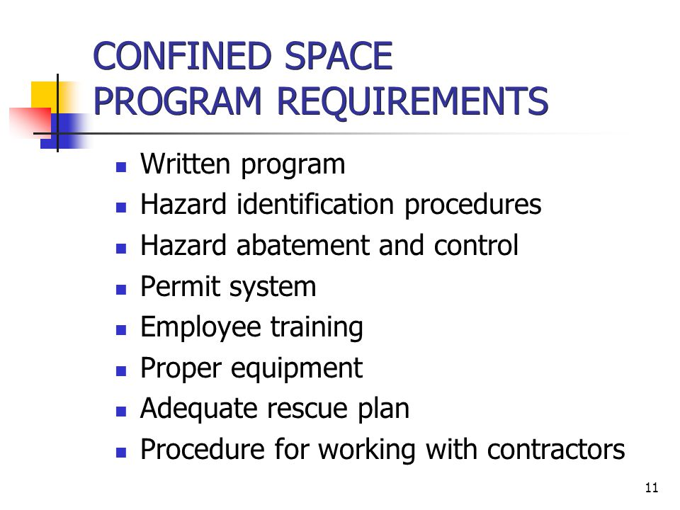 CONFINED SPACE PROGRAM REQUIREMENTS