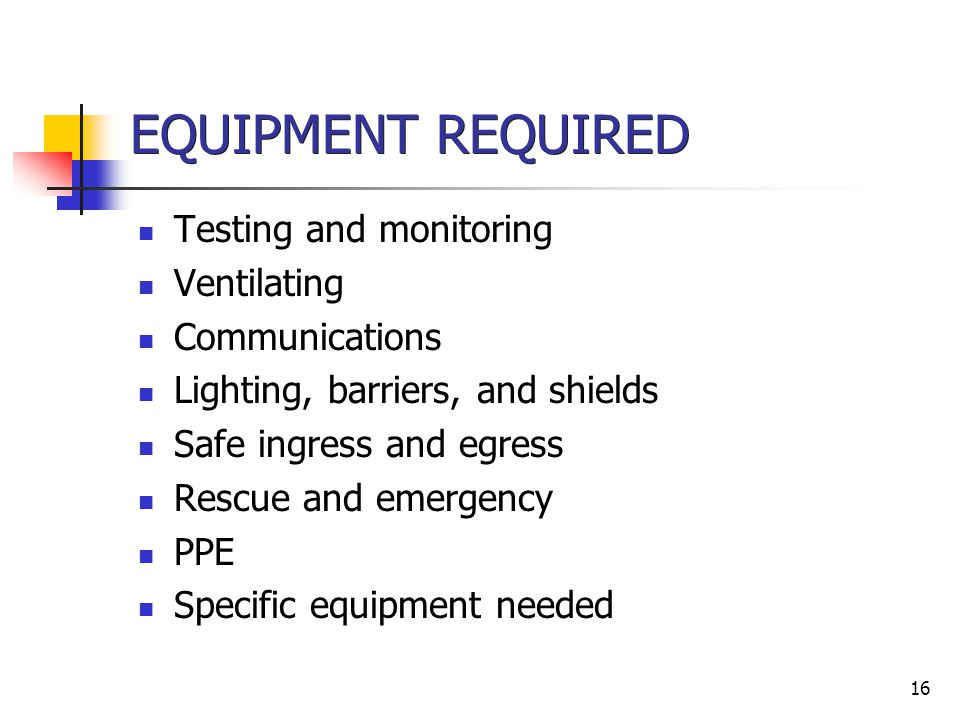 EQUIPMENT REQUIRED Testing and monitoring Ventilating Communications