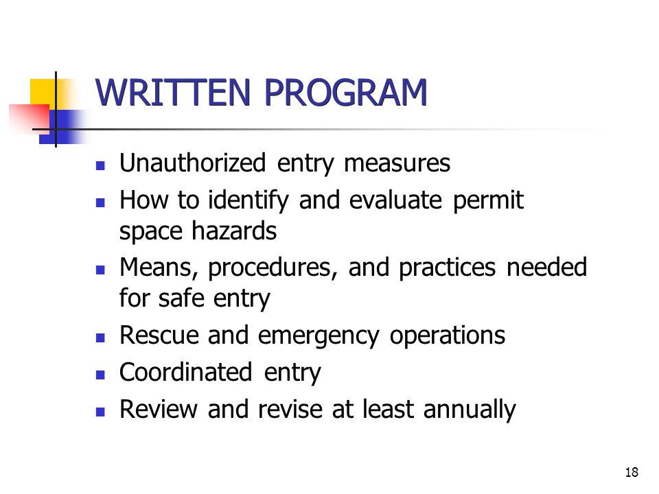 WRITTEN PROGRAM Unauthorized entry measures