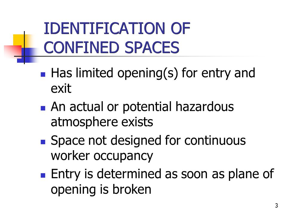 IDENTIFICATION OF CONFINED SPACES
