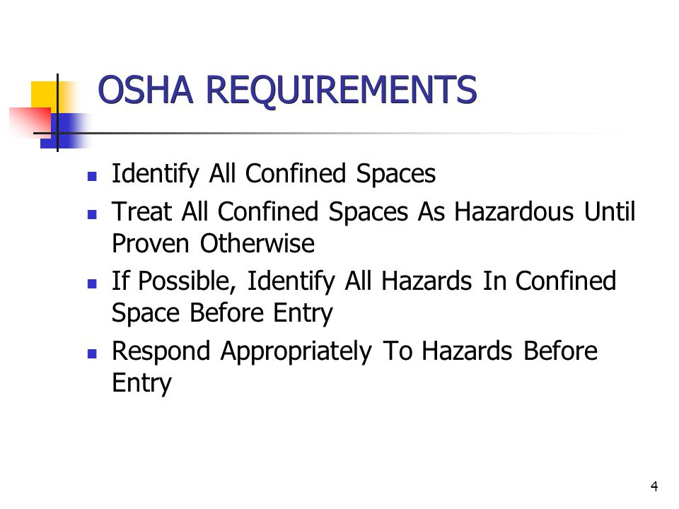 OSHA REQUIREMENTS Identify All Confined Spaces