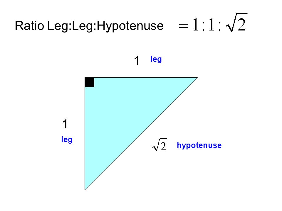 Ratio Leg:Leg:Hypotenuse