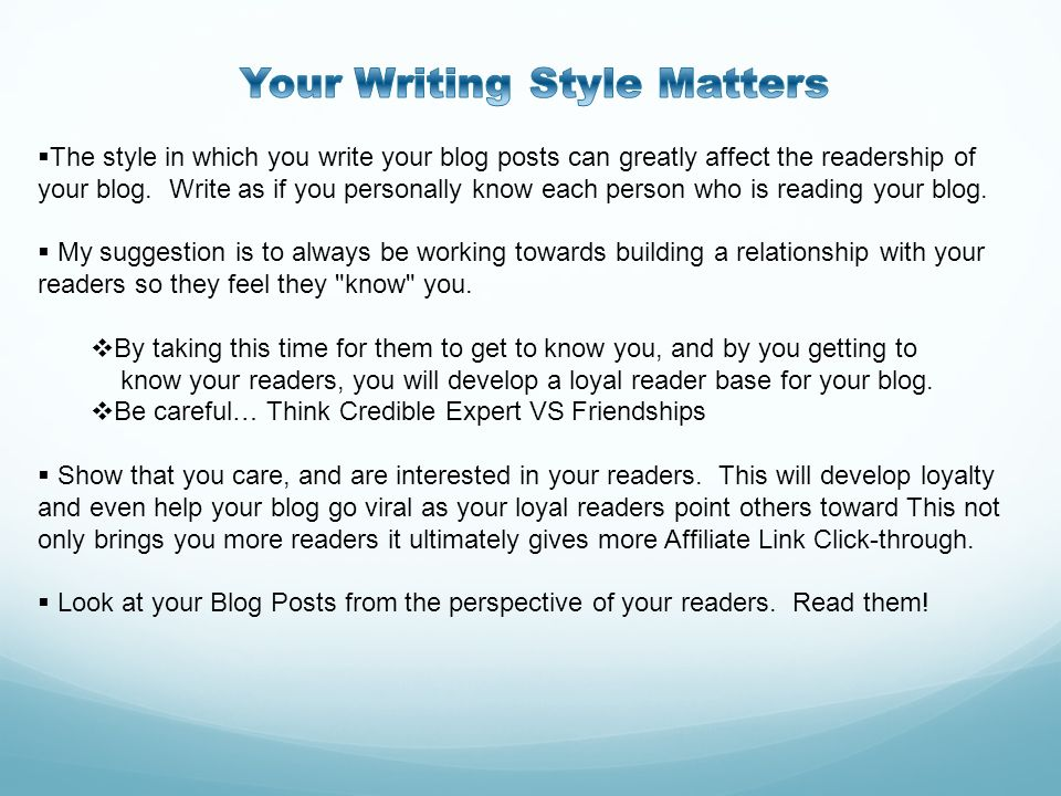 Your Writing Style Matters