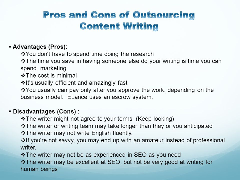 Pros and Cons of Outsourcing Content Writing