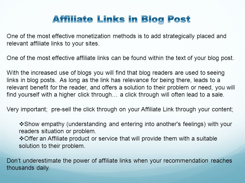 Affiliate Links in Blog Post