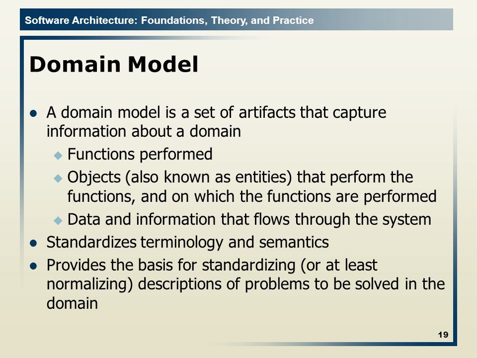 Domain Model A domain model is a set of artifacts that capture information about a domain. Functions performed.