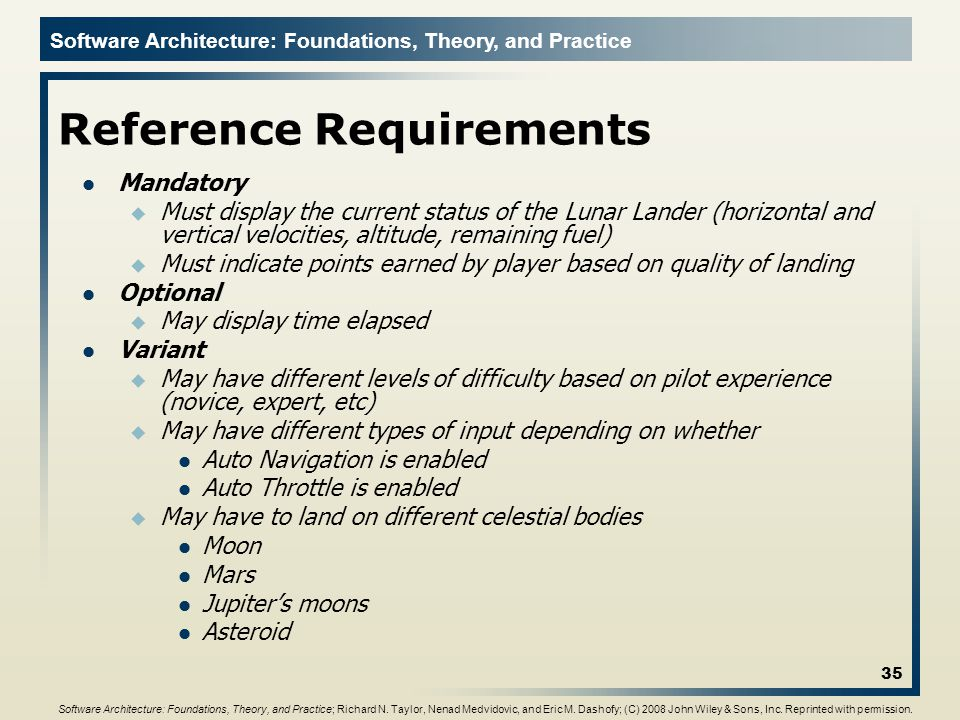 Reference Requirements