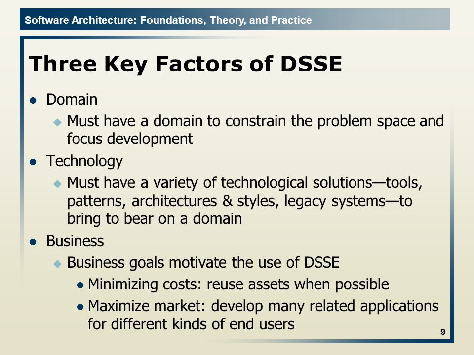 Three Key Factors of DSSE