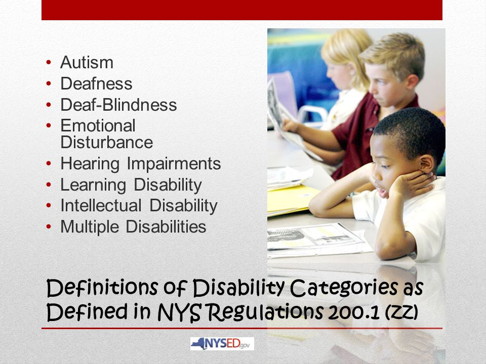 Autism Deafness. Deaf-Blindness. Emotional Disturbance. Hearing Impairments. Learning Disability.